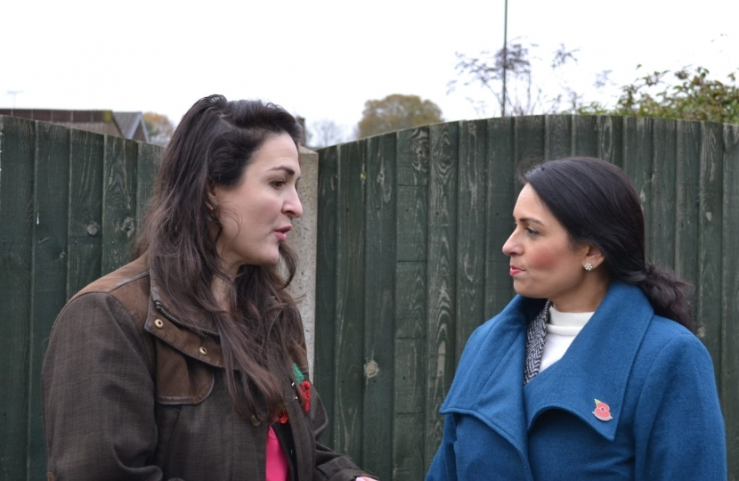 Angelique Foster with Priti Patel, Home Secretary